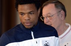 France's national football team forward Loic Remy arrives for a press conference in Enghien-les-Bains on September 5, 2014, two days ahead of the team's friendly football match against Serbia in Belgrade.