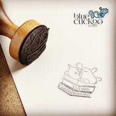 "EXLIBRIS Rubber stamp - 2"" di bluecuckoostudio su Etsy"