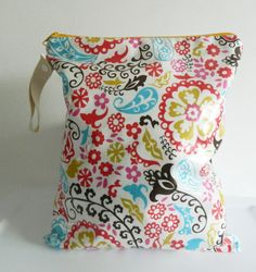 Laminated Wet Bag Large Floral and Paisleys by LilTotWonder, $19.00