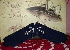 Rare Vintage Navy Blue With Anchor Womens Hand Gloves in Clothing, Shoes & Accessories, Vintage, Vintage Accessories | eBay