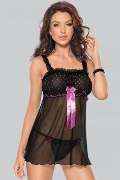 Black Sheer Polka Dot Bow Babydoll  amp  Thong - Plus Too Bikini Girls 90d1fd666
