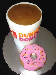 Dunkin Donuts Cake Community Post: 27 Fast Food Themed Cakes That Are Like… Pretty Cakes, Cute Cakes, Yummy Cakes, Crazy Cakes, Fancy Cakes, Pink Cakes, Unique Cakes, Creative Cakes, Dunkin Donuts Cake