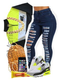 Bright by trill-forlife ❤ liked on Polyvore featuring MCM, Carmex, NIKE and Fantasy Jewelry Box