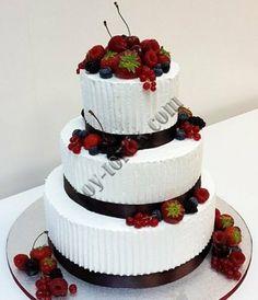 Свадебный торт без мастики — купить в Киеве. Лучшая цена на Свадебные торты