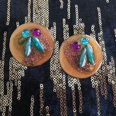resin earrings-FREE SHIPPING-handmade earrings-statement