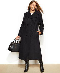 DKNY Plus Size Wool-Blend Double-Breasted Walker Coat