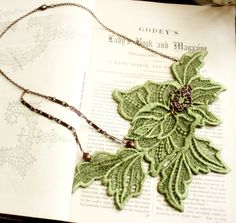 lace necklace CHARLOTTE green apple by tinaevarenee on Etsy, $42.00