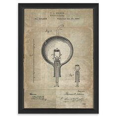 ACHICA   The Interior Art collection- Edison Patent On White, Framed Wall Art, 43X32cm