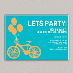 Bicycle Party Invitation, Custom Invitation, Bike Party, Bicycle Party, Enchanted Designs