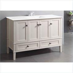 "Simpli Home Chelsea 49"" Bath Vanity w/Quartz Marble Top White Bathroom Vanitie #SimpliHome #Transitional"