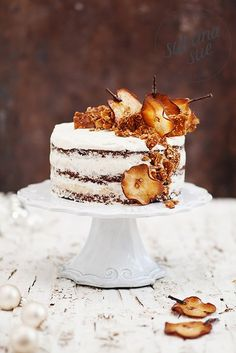 tipsy pear coconut cake and sesame almond brittle