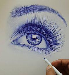 Her pretty blue eyes! Her pretty blue eyes! Eye Drawing Tutorials, Drawing Techniques, Art Tutorials, Art Drawings Sketches Simple, Pencil Art Drawings, Stylo Art, Ballpoint Pen Art, Eyes Artwork, Eye Sketch