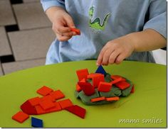 I love this idea!  - Pattern blocks and play dough - combine for a whole new sensory and building experience!