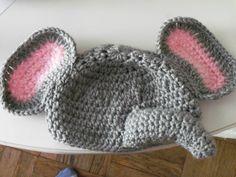 Baby elephant hat & diaper set-crocheted