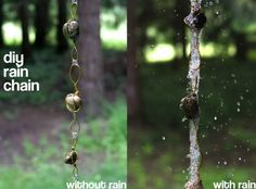 DIY Rain Chain. A decorative chain to replace your downspout. It becomes a pleasing water feature when it rains. #HomeDecor