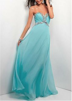 Chic Silk-like Chiffon A-line Sweethart Neckline Empire Waist Full Length Beaded Formal Dress