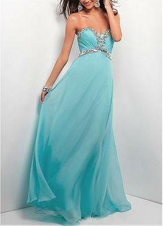 Chic Silk-like Chiffon A-line Sweethart Neckline Empire Waist Full Length Beaded Formal Dress