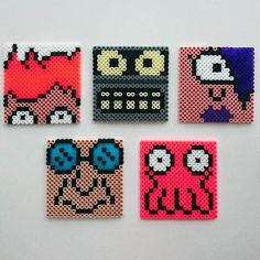 Futurama coasters perler beads by merlinsmamma                                                                                                                                                                                 More