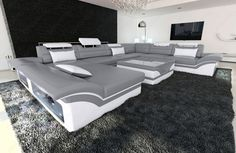 4Gs Big Sectional Sofa ENZO XXL Leather Couch with LED Lights - colour selection #SofaDreams #Modern