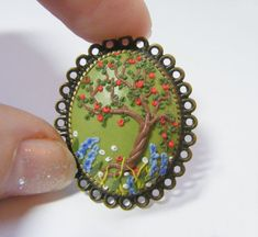 Apple Tree Ring   Handmade Jewelry Polymer Clay by TheClayFlorist, £22.99