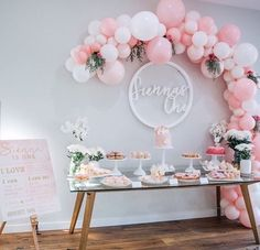 A very pink sweets table.
