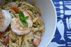 Griekse pasta (orzo) met scampi, ideaal voor de lunch!