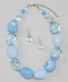 This Aqua Chunky Necklace & Earrings is perfect! #zulilyfinds