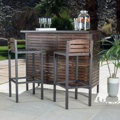 Discover additional info on bar furniture for sale. Look at our site. Create a homely, rustic look to your patio décor with this Marlen bar set. Enjoy your favorite cocktails on an acacia wood bar-top, with matching medium wood stools. Outdoor Bar Furniture, Bar Furniture For Sale, Home Decor Furniture, Furniture Ideas, Backyard Furniture, Furniture Movers, Furniture Design, Furniture Shopping, Furniture Market