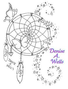 Dreamcatcher Tattoo Design by Denise A. Wells....I'd like this with a hummingbird instead of a butterfly. I love the music note in the feather.