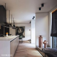 Light modern kitchen, wooden blinds