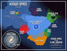 A map of known space in the Star Trek universe (circa TOS, I think) Star Wars, Star Trek Tos, Star Trek Voyager, Nave Enterprise, Klingon Empire, Star Trek Original Series, Star Trek Starships, Star Trek Ships, Star Trek Universe