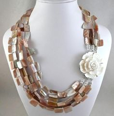 Rose and Shell - Jewelry creation by Madalynne Homme Flower Jewelry, Shell Jewelry, Shells, Beaded Necklace, Jewelry Making, Carving, Jewels, Chain, Rose