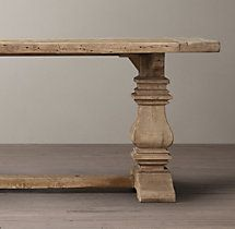 Salvaged Wood Trestle Rectangular Extension Dining Table (Restoration Hardware)