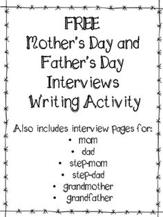 Please rate and review :)Students describe their mother and father for the upcoming holidays (Mother's and Father's Day) to honor them.  Pages are also included for step-mom, step-dad, grandmother, and grandfather, so all children in unique situations and with diverse families have someone to honor.