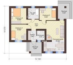 Одноэтажный Дом на 3 (три) Спальни, 2 Входа | КТ-005 | DOMRIY