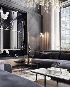 """CovetED Magazine on Instagram: """"Monday inspiration: Impressive, monumental and luxurious living room! Every detail here was so gently and carefully chosen, we really like…"""" Sophisticated Living Rooms, Sitting Area, Monday Inspiration, Best Interior, Luxury Living, Living Room Designs, Townhouse, Design Projects, Modern Design"""