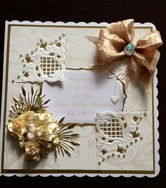Golden wedding anniversary card,anja corner die and spellbinders labels