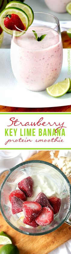 100 guilt free, Easy, creamy, Strawberry Key Lime Banana Protein - tastes like an indulgent dessert but is healthy, and protein packed to satisfy all your sweet cravings. Breakfast Smoothies, Smoothie Drinks, Healthy Smoothies, Healthy Drinks, Healthy Snacks, Healthy Recipes, Banana Protein Smoothie, Strawberry Banana Smoothie, Hemp Protein