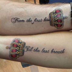 Best couples tattoo ever ;-) diy tattoo, king tattoos, king queen tattoo, c Pair Tattoos, King Tattoos, Queen Tattoo, Dope Tattoos, New Tattoos, Tribal Tattoos, Marriage Tattoos, Partner Tattoos, Relationship Tattoos