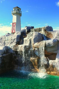 Lighthouse Waterfall- Cleveland, Ohio-Beautiful Lighthouses Around the World Photos) Saint Mathieu, Lighthouse Pictures, Les Cascades, Destination Voyage, Seen, Beautiful Waterfalls, Wyoming, Strand, Missouri