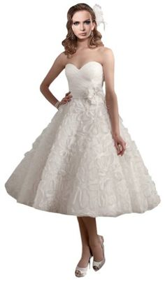 ZHUOLAN White Sweetheart Organza Floral Details Sash Flower Tea Length Wedding Dress 14 ZHUOLAN http://www.amazon.com/dp/B00K19VBYY/ref=cm_sw_r_pi_dp_2rk5ub0K8A84D