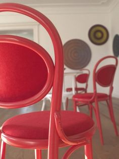 Red on red Michael Thonet No 20 Bentwood Side Chair by TON