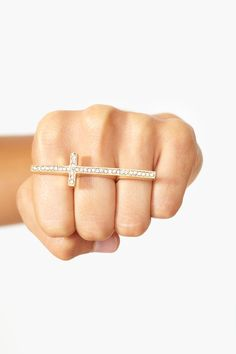Crystal Cross Ring in Gold