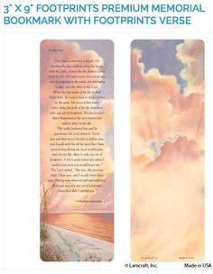 """Create laminated memorial bookmarks with Lamcraft's 3"""" x 9"""" Premium Memorial Cards featuring the Footprints design and verse."""