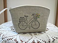 Linen Clutch Cosmetic Bag  Purse Retro Bicycle Hand Embroidery. $13.00, via Etsy.