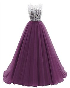 Womens Long Chiffon Lace Wedding Party Evening Gowns Formal Prom Bridesmaid Dress (US 4-6, purple)