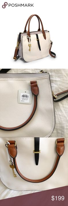 "Brand new Fossil Ryder satchel neutral multi Brand new with tags leather satchel Measurements: 12""L x 5.5""W x 10""H Interior Details: 2 Slide Pockets and 1 Zipper Pocket Fossil Bags Satchels"