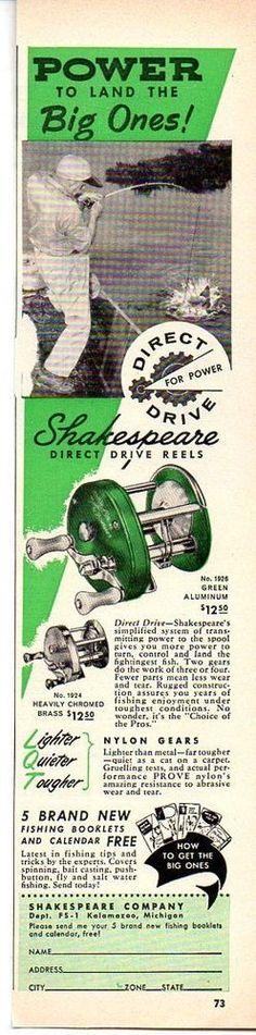 1957 Vintage Ad Shakespeare Direct Drive Fishing Reels Kalamazoo,MI #Paper