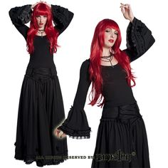 Bernia Black Chiffon Long Skirt by Sinister