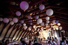 Boules japonaises papier lanternes lampions avec led, violet parme lilas mauve blanc, deco de mariage